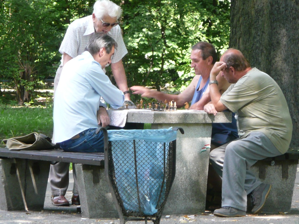 """Knight to K4. Check""   ""Don't call me Czech, I was born here"" - Blokes playing chess in park on hot day"